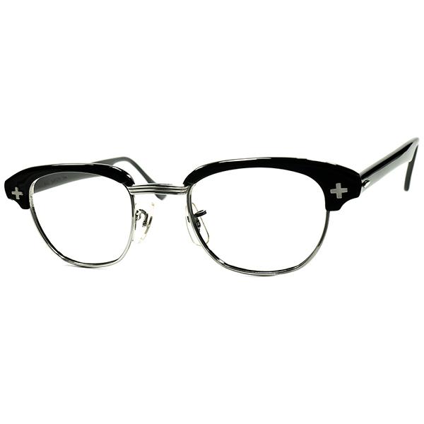ULTRA RARE カラーALL BLACK仕様 極上MINT個体 1950s-60s USA製 BAUSCH&LOMB ボシュロム B&L初期 平打クロス BLACK ブロータイプ ヴィンテージ 眼鏡 メガネ size46/22 a6382