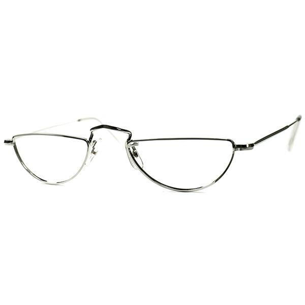 英国老舗謹製 1960s-70s イギリス製 MADE IN ENGLAND デッドストック DEADSTOCK ALGHA 1/2eye ハーフアイ 12KT希少ホワイトゴールド金張り 実寸45/20 ビンテージヴィンテージ 眼鏡メガネ A6437