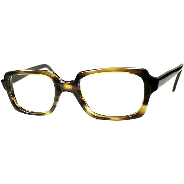 人気生地x万能シェイプ 1960s-70s デッドストック DEADSTOCK 英国製 MADE IN ENGLAND MILITRAY SHAPEスクエア系 NO HINGEウェリントン 黒黄色 TORTOISE size50/22 ビンテージヴィンテージ 眼鏡メガネ A6450