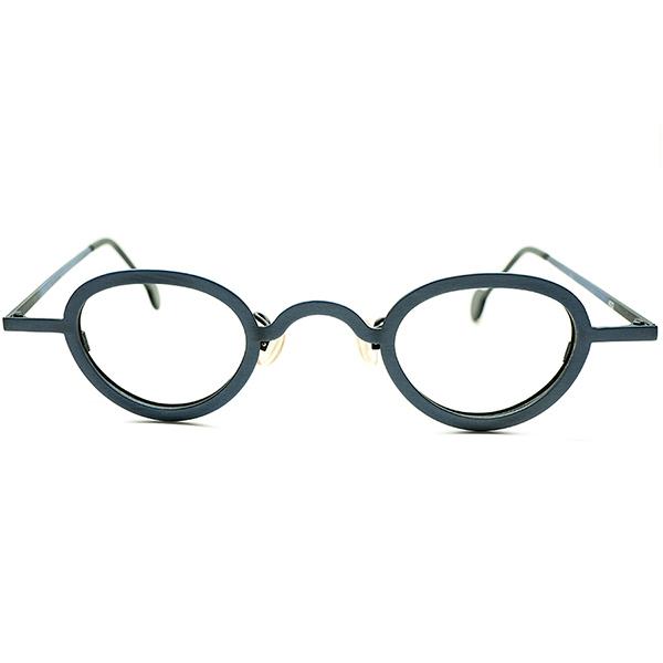眼鏡愛好家必見 超秀逸シェイプ1990s デッドストックDEADSTOCK ITALY製 l.a.Eyeworks アイワークス 小径EYE×合金 PANTO ラウンド 丸眼鏡 FADED INDIGO ビンテージヴィンテージ 眼鏡メガネ a6484