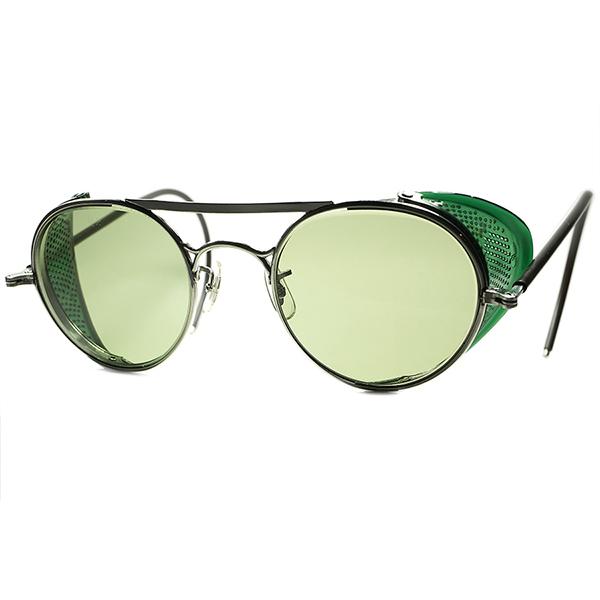 鮮烈GREENサイドガード 1930s-40s デッドストック USA製 B&L BAUSCH LOMB ボシュロム W-BRIDGE インダストリアルROUND 丸眼鏡 丸メガネ size47/22 BL製#2砂打ガラスLENS入 ビンテージヴィンテージ 眼鏡メガネ a6494