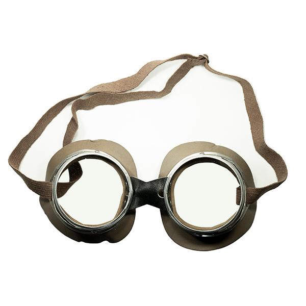 軽量ボディ超実用的 激レアオールドピース 1920s-30s デッド ストック DEADSTOCK MADE IN FRANCEフランス製 MADE IN FRANCE FRENCH OLDモーターサイクリスト ゴーグル FLATレンズ入 渋色KHAKI ビンテージヴィンテージ 眼鏡メガネ a6502