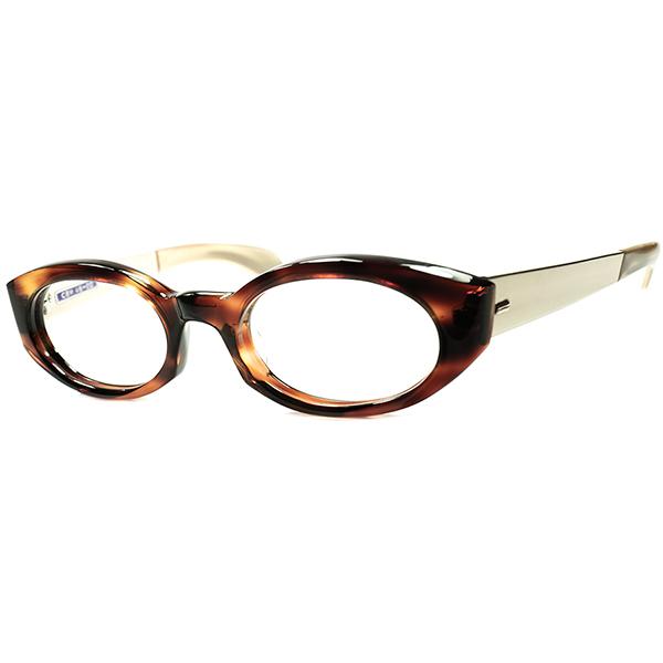SUPER RARE DESIGN 絶妙モダンクラシック 1960s デッドストックDEADSTOCK BRITISH MADE イギリス製 コンビネーション COMPACT 短縦ウェリントン ビンテージヴィンテージ 眼鏡メガネ size 46/20 A6519