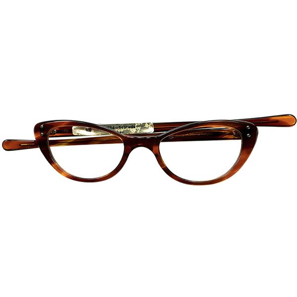 優秀レディースビンテージ 1960s デッドストックDEADSTOCK USA製 AMERICAN OPTICAL アメリカンオプティカル AO 細身キャットアイ size 46/18 AMBER ビンテージヴィンテージ 眼鏡メガネ A6520