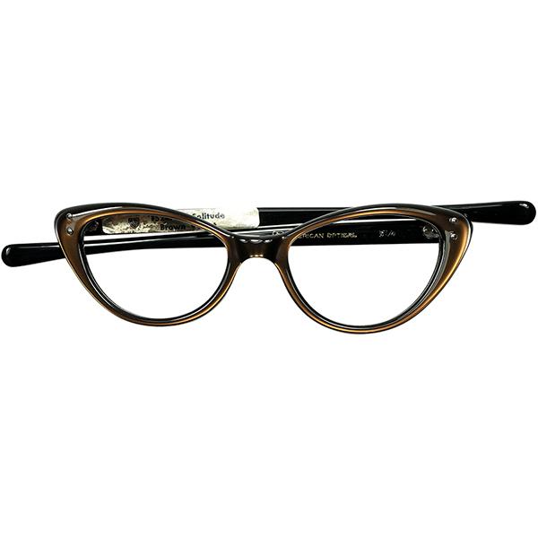 CHIC&ELEGANT 1960s デッドストックDEADSTOCK USA製AMERICAN OPTICAL アメリカンオプティカル AO 細身キャットアイ size 46/16 Brown Velvet ビンテージヴィンテージ 眼鏡メガネ a6521