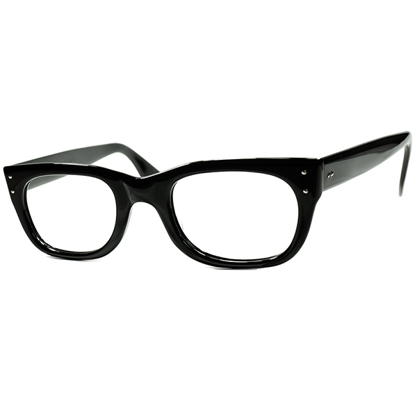 良質BASIC&SIMPLE デイリーユース向け 1960s USA製 AMERICAN OPTICAL AO アメリカンオプティカル RIVET ヒンジウェリントン黒 size46/22 ビンテージヴィンテージ 眼鏡メガネ A6527