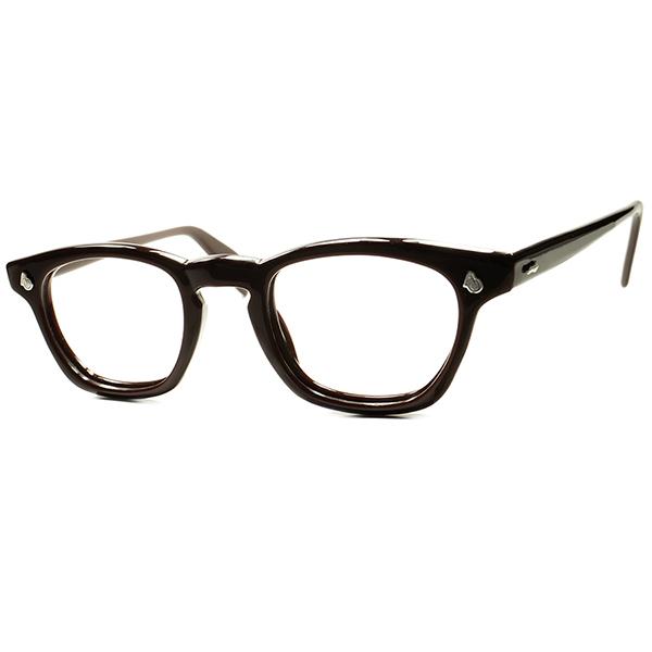 球数極少RARE SIZEデッド級TOPランク個体 1950s-60s USA製 アメリカンオプティカル AMERICAN OPTICAL AOヒンジ KEY HOLE ウェリントンsize44/22 CHOCOLATE BROWN ビンテージヴィンテージ 眼鏡メガネ a6531