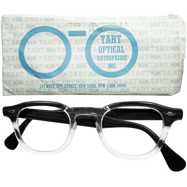 ナンバー1定番 超人気モデル デッドストックDEADSTOCK 1950s-60s USA製 オリジナルTART OPTICAL タートオプティカル ARNEL タートアーネル BLACKWOOD size46/24 ヴィンテージ眼鏡メガネ a6536