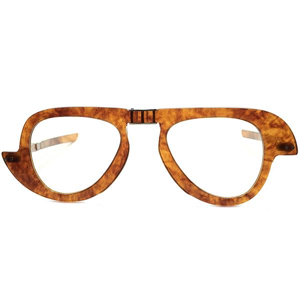 格上オーラ代表的アシンメトリーDESIGN 1950s-60s フランス製 デッドストックDEADSTOCK PIERRE CARDIN ピエールカルダン 折り畳式FOLDINGアビエーターPANTO 琥珀色 ビンテージ眼鏡メガネ a6570