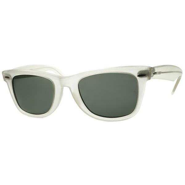 球数極少RAREカラー 1970年代 USA製 B&L RAYBAN ボシュロムレイバン WAYFARER 1 ウェイファーラー MATT CRYSTALx砂打入G15 Lsize50/22 ビンテージヴィンテージ 眼鏡メガネ サングラスA6584
