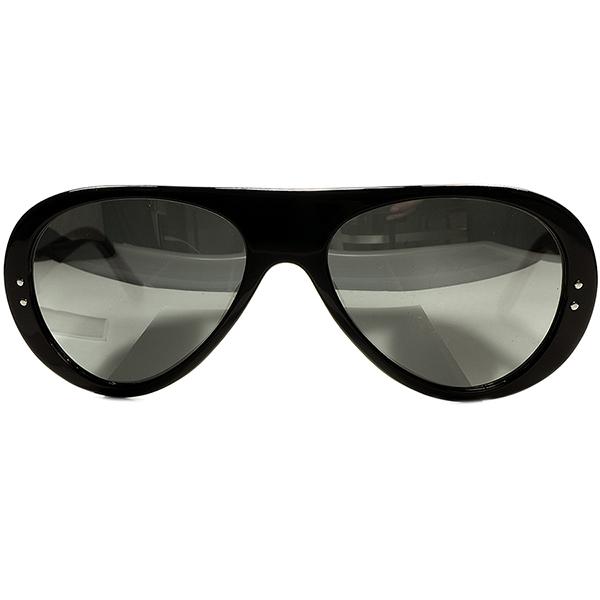 衝撃BLACK激レア個体モノトーン仕様 1960s デッドストックDEADSTOCK FRAME FRANCE フランス製 ブルースリー氏同型アビエーターサングラス ミラーガラスLENS ヴィンテージ眼鏡メガネ a6589
