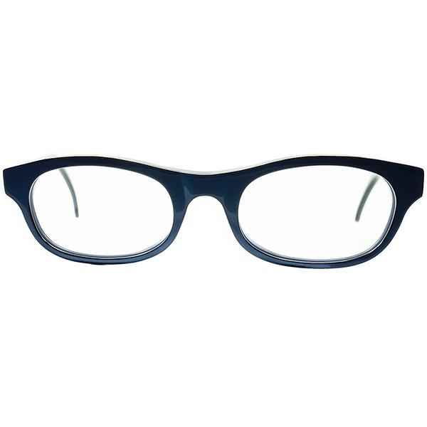 実用的BASIC DESIGN 技巧派レイヤード1990s ITALY製 デッドストックDEADSTOCKl.a.Eyeworksアイワークス ROYAL BLUE 流線型MINIMALウェリントン 実寸48/20 ビンテージヴィンテージ 眼鏡メガネ A6600