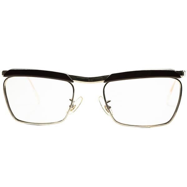 超絶クオリティ SUPER SOLID デッドストックDEADSTOCK 1950s-60sフランス製 FRAME FRANCE フレーム フランス 本金張GOLD x6mm厚DARK DEMI 角残し立体CUTTINGブロータイプ size50/22 ビンテージヴィンテージ 眼鏡メガネ a6603