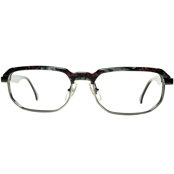 GRAY BASE良質ベーシック志向 1980s-90s デッドストックDEADSTOCK FRANCE製 MADE IN FRANCE オールドalain mikli アランミクリ Argyle調大理石柄 SOFT OCTAGONブロータイプ ビンテージヴィンテージ 眼鏡メガネ a6611