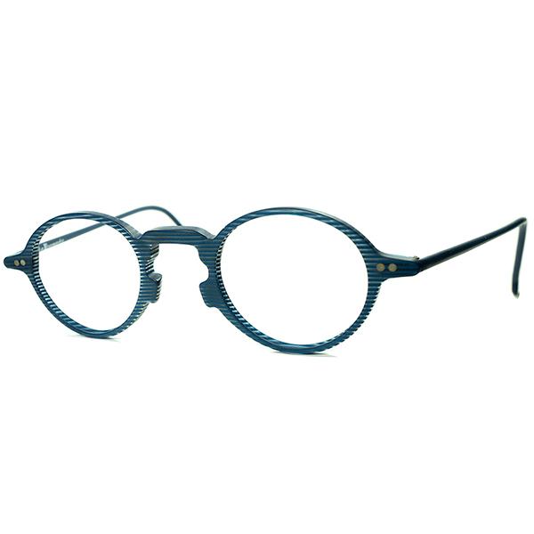 フランス黄金期xMODERN ART 1990s デッドストックDEADSTOCK ITALY製l.a.Eyeworksアイワークス 変形BRIDGE 小径PANTOラウンド ビンテージヴィンテージ 眼鏡メガネ 丸眼鏡 INDIGO BLUE STRIPE A6766