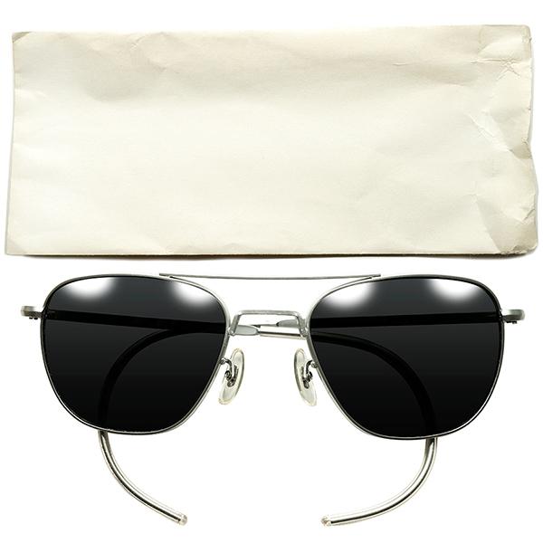 ミルスペック USミリタリー正式採用 1970s-80s USA製 デッドストックDEADSTOCK AO AMERICAN OPTICAL アメリカンオプティカル TAXI DRIVER ベトナムアビエーターサングラス MATT CHROME ビンテージヴィンテージ 眼鏡メガネ A6194