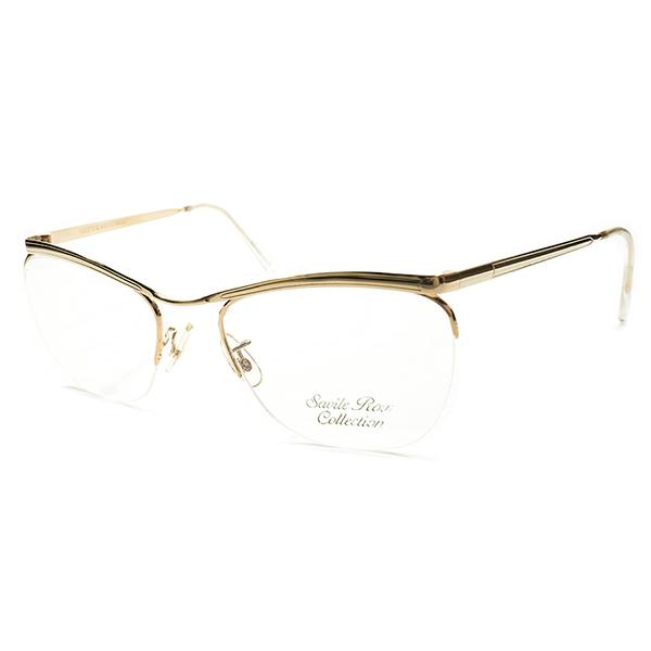 名作オマージュ最高純度&超ハイクオリティ デッドストック 1960s-1970s 英国製 MADE IN ENGLAND Savile Row 14KT本金張り CARLTON型 リムレス ブローライン 眼鏡ヴィンテージ メガネ 眼鏡 A4099