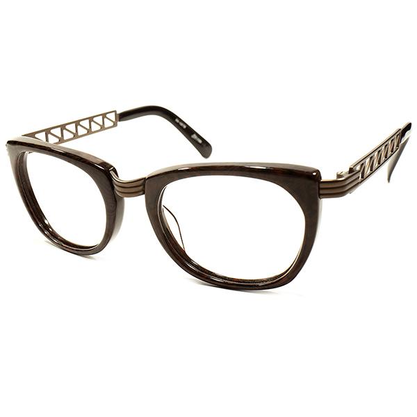 実用的 超ハイセンス 1990s デッドストック 日本製 MADE IN JAPAN Jean Paul GAULTIER ジャンポールゴルチエ BROWN MARBLE×BRONZE METAL 2ポイントSTYLE ウェリントン ヴィンテージ メガネ 眼鏡 A4154