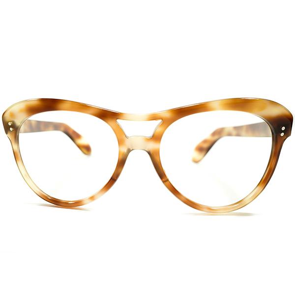 即戦力UNIQUEデザイン&超GOOD SIZE デッドストック 1940s フランス製 MADE IN FRANCE 芯なしオールドテンプル仕様 W-ブリッジ アビエーター ビンテージヴィンテージ 眼鏡メガネ サングラス A4163