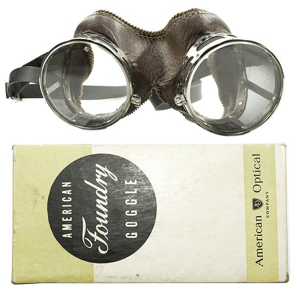 激渋EARLYオーラ 極少数現存モデル デッドストック 1930s USA製 MADE IN USA アメリカンオプティカル AO AMERICAN OPTICAL レザー×コーデュロイトリム AO砂打フラットガラスレンズ入 INDUSTRIALゴーグル FLATレンズ入 ヴィンテージ 眼鏡 サングラス ゴーグル A4169