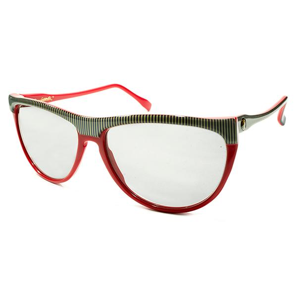 鮮烈RETROモダン デッドストック 1980s 英国製 MADE IN ENGLAND オリバーゴールドスミス OLIVER GOLDSMITH 波打TEMPLE×LONDONストライプフレーム TUTTI 日本製ガラスLENS入 ビンテージヴィンテージ 眼鏡メガネ A4210