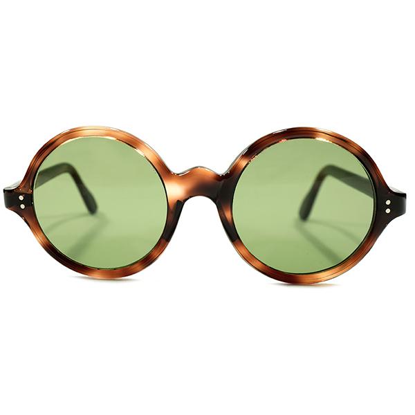 超GOOD SIZE待望スペック デッドストック 1950s-1960s FRAME FRANCE 正円 鼈甲柄 ラウンドフレーム #3GREENガラスレンズ入 ヴィンテージ メガネ 丸眼鏡 A4231