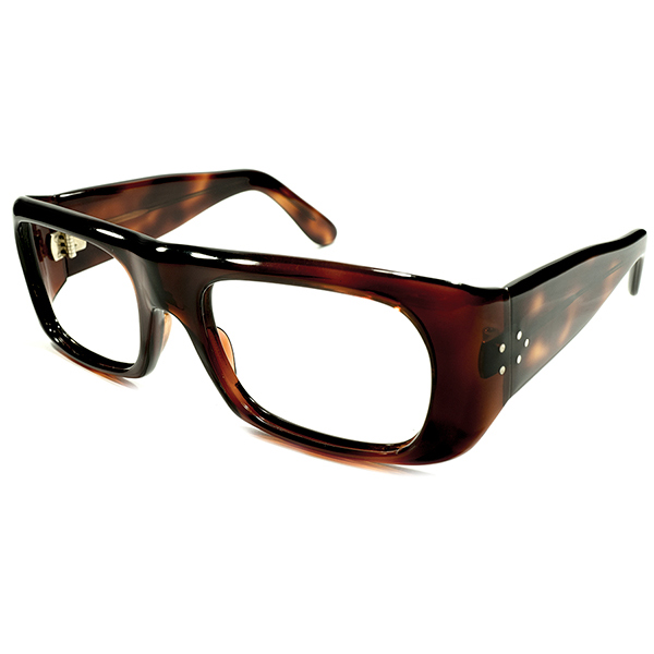 サイドビュー最注力デザイン デッドストック 1960s FRAME FRANCE 肉厚ワイドフロント×3DOT極太テンプル 鼈甲 ウェリントンフレーム ヴィンテージ メガネ 眼鏡 A4234