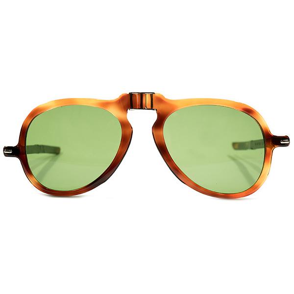 革新的レトロスペクティブ個体 デッドストック 1960s FRAME FRANCE フレーム フランス 鼈甲柄 アシンメトリー構造 折り畳み式 FOLDING アビエーターフレーム VINTAGE日本製ガラスレンズ入 ビンテージヴィンテージ 眼鏡メガネ A4236