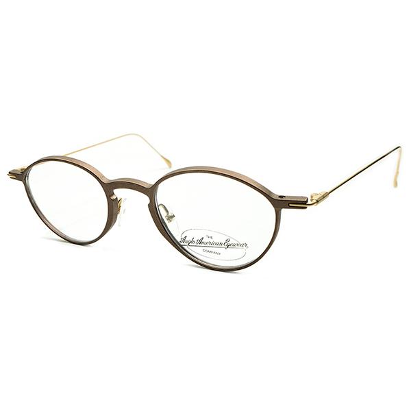 ELEGANTクラシック デッドストック 1980s MADE IN AUSTRIA アングロアメリカン ANGLO AMERICAN EYEWEAR ブロンズ×ゴールド 2TONE PANTO パントフレーム size46/21 ヴィンテージ メガネ 丸眼鏡 A4244