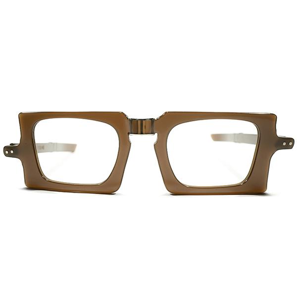 前衛的SPACYデザイン デッドストック 1950s-1960s フランス製 MADE IN FRANCE ピエールカルダン PIERRE CARDIN スクエア型 折畳FOLDING TRUFFLE BROWN ヴィンテージ メガネ 眼鏡 A4257