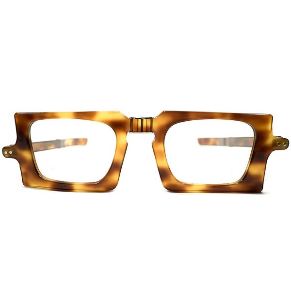 唯一無二超絶ディテール デッドストック 1950s-1960s フランス製 MADE IN FRANCE ピエールカルダン PIERRE CARDIN 折り畳式 FOLDING 鼈甲柄 スクエアシェイプ ヴィンテージ メガネ 眼鏡 A4265