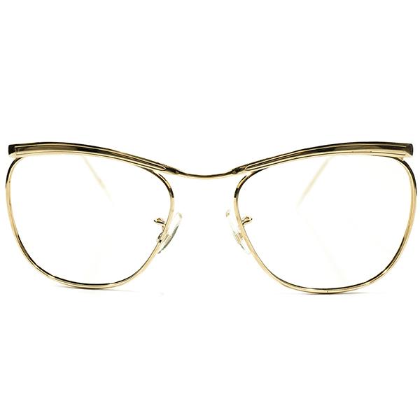 本国内ロングセラーMODEL&超GOOD SIZE デッドストック 1960s-1970s 英国製 MADE IN ENGLAND Savile Row by ALGHA アルガ リムレス 14KTGF本金張り CARLTON型ブローライン ヴィンテージ 眼鏡 メガネ A4295