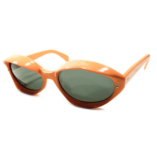 RETRO MODE デッドストック 1960s フランス製 MADE IN FRANCE 立体TELEVISION STYLE オレンジカラー OVAL型 サングラス ORIGINALガラスレンズ入 ヴィンテージ メガネ 丸眼鏡 A4324