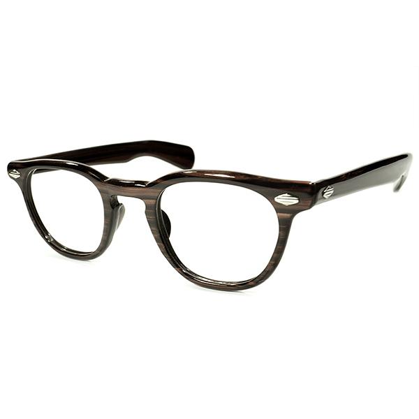 アングラGEEK VINTAGE 1950s USA製 MADE IN USA 極艶 ストライプダイヤ仕様 WALNUT柄 ARNEL×FDR STYLE ウェリントンフレーム ホーンリム 眼鏡 ヴィンテージ メガネ 眼鏡 A4329