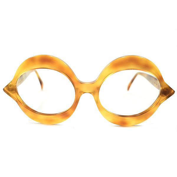 黄金期モニュメンタル作品 デッドストック 1950s-1960s フランス製 MADE IN FRANCE ピエールカルダン PIERRE CARDIN 唇型 LIP SHAPEフレーム ヴィンテージ メガネ 丸眼鏡 A4340