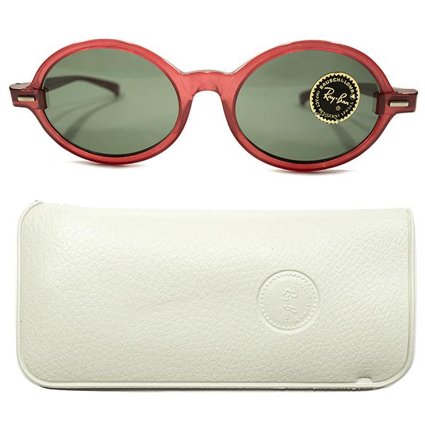 CASE付デッドストック 先見的デザイン 1950s-1960s USA製 MADE IN USA B&L RAY-BAN ボシュロム レイバン TANLEY 楕円 RED CRYSTAL モダンフレーム G-15ガラスレンズ入 ビンテージヴィンテージ 眼鏡メガネ サングラス A4343