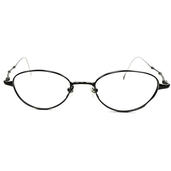 ANTIQUEインスパイア 1990s デッドストック 日本製 MADE IN JAPAN Jean Paul GAULTIER ジャンポールゴルチエ MATT BLACK 黒 チタン素材 ラウンド ヴィンテージ 眼鏡 丸メガネ A4351