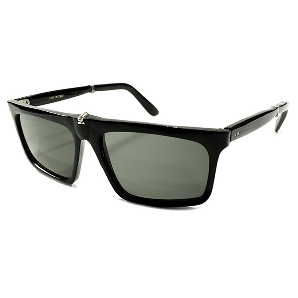 ゲキ渋ALL BLACK&実用的MODE デッドストック 1960s イタリア製 MADE IN ITALY 幾何学シェイプ 折り畳み式 FOLDING 黒 ウェリントン 当時物ガラスレンズ入 サングラス ヴィンテージ メガネ 眼鏡 A4362