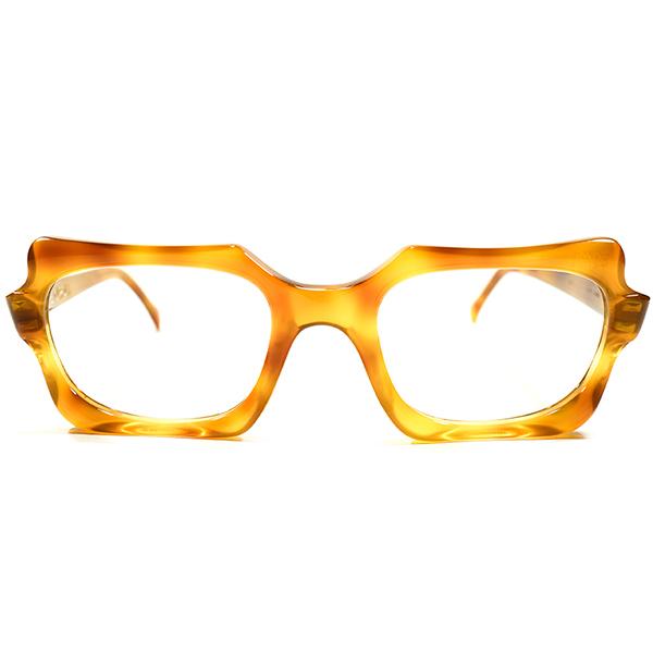 芸術的ART SHAPE デッドストック 1950s-1960s フランス製 MADE IN FRANCE PIERRE CARDIN ピエールカルダン 先進的スクエア系 ウェリントン HONEY AMBER 鼈甲柄 ヴィンテージ メガネ 眼鏡 GOOD SIZE A4363