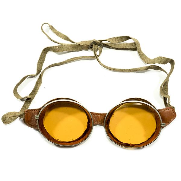 最初期レアシェイプAVIATOR 1910s-1920s USA製 MADE IN USA アビエーターゴーグルA MBERMATIC平面ガラスレンズ入 GOGGLE ヴィンテージ メガネ 眼鏡 アンティーク A4372