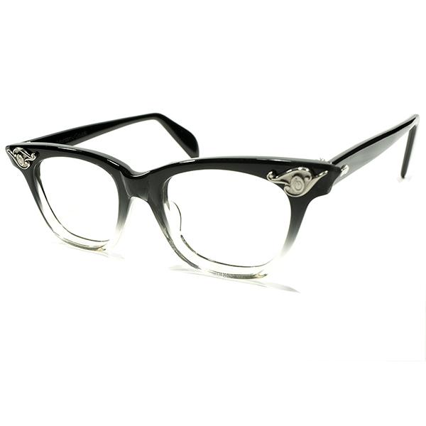 希少SIZE 極上デッドストック 1950s アメリカ製 MADE IN USA アメリカンオプティカル AMERICAN OPTICAL AO ART DECOヒンジ BLACK FADE ウェリントン ヴィンテージ メガネ 眼鏡 44/18 A4384
