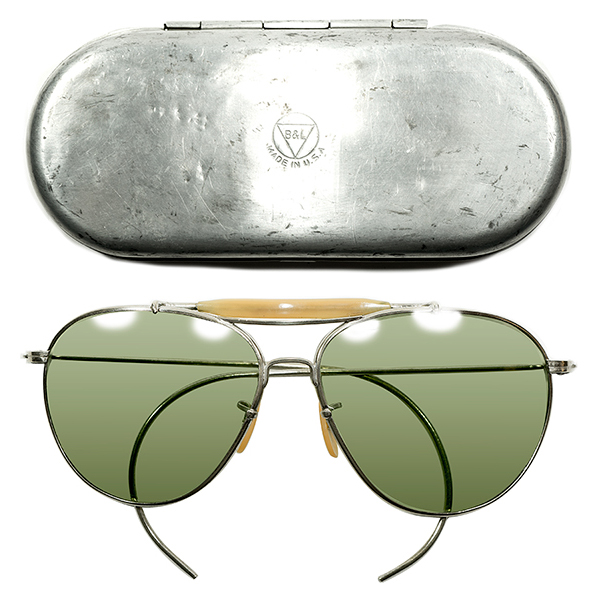 MILSPEC基準 W.W.2 アルミCASE付 MINT 1930s-1940s アメリカ製 MADE IN USA オフィシャル USミリタリー B&L ボシュロム製 BAUSCH&LOMB 重厚SILVER METAL アビエーター ヴィンテージ 眼鏡 サングラス オリジナルG-31ガラスレンズ入 A4399