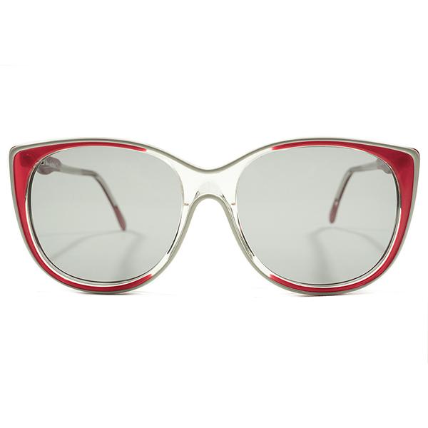 秀逸レトロ配色 デッドストック 1970s-1980s 英国製 MADE IN ENGLAND オリバーゴールドスミス OLIVER GOLDSMITH REDフェード×WHITEパイピング 日本製GREYレンズ入 サングラス ヴィンテージ メガネ 眼鏡 A4410