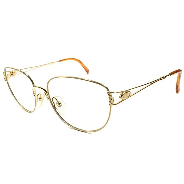機能的MODERNヴィンテージ デッドストック 1980s AUSTRIA製 クリスチャンディオール Christian Dior ゴールド×鼈甲柄 ボストンラウンド size55/17 ヴィンテージ メガネ 眼鏡 A4456