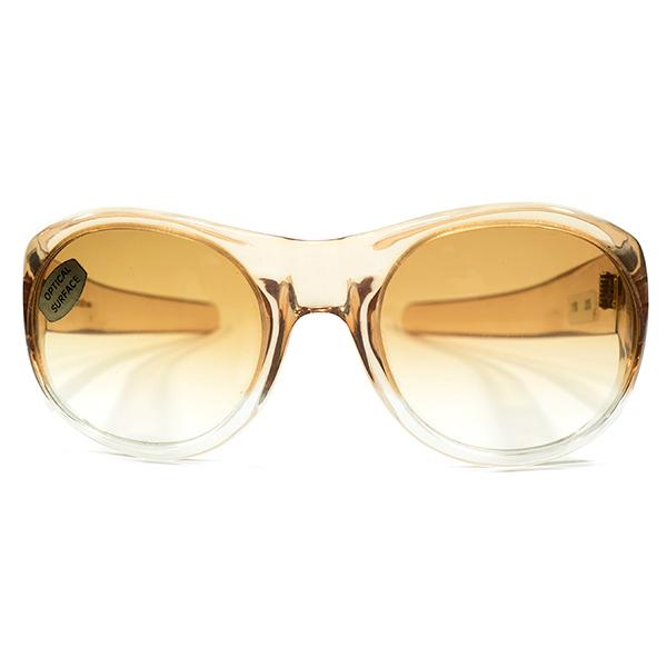 HIPPY STYLE デッドストック LATE1960s-1970s フランス製 MADE IN FRANCE LIGHT BROWN FADE 芯なし極太3DOTテンプル LARGE ボストン型 ラウンド ビンテージヴィンテージ 眼鏡メガネ サングラス グラデーションカラーレンズ入 A4459