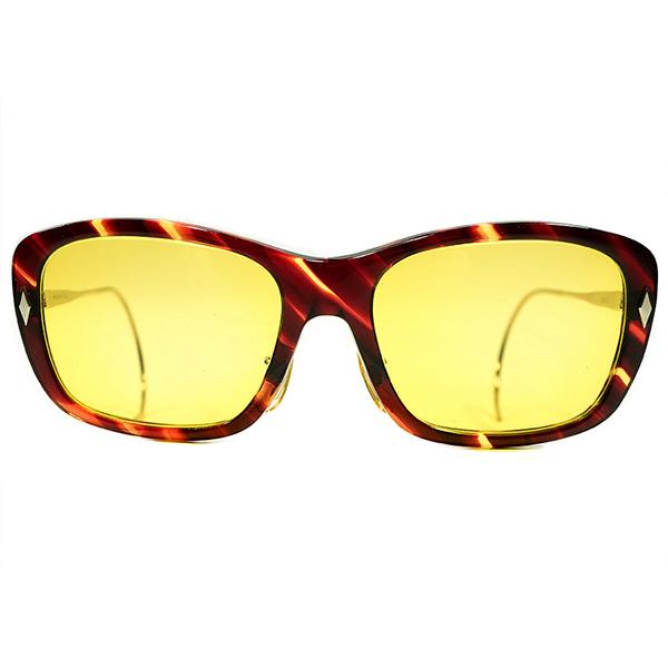 超極上個体 1960s USA製 MADE IN USA アメリカンオプティカル AO AMERICAN OPTICAL 縦ダイヤヒンジ 鼈甲柄×1/10 12KGF 縄手TEMPLE ノーズパッド仕様 ウェリントン HAZEMSTERレンズ入 サングラス ヴィンテージ 眼鏡 メガネ A4480