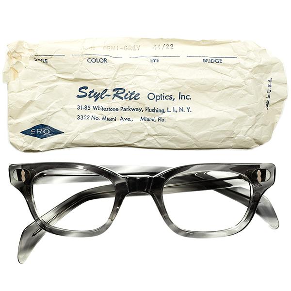 スリーブ付デッドストック 1950s-1960s アメリカ製 MADE IN USA STYL-RITE OPTICS SRO 名作モデル GUARDSMAN 縦型Wダイヤ DEMI GREY ウェリントン ヴィンテージ メガネ 眼鏡 44/22 A4490