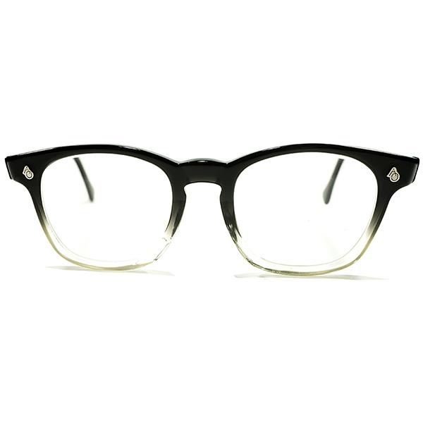 極上デッドストック 1950s-1960s アメリカ製 MADE IN USA アメリカンオプティカル AMERICAN OPTICAL AO AOヒンジ BLACK FADE ウェリントン ヴィンテージ メガネ 眼鏡 砂打入オリジナルガラスレンズ入 48/20 A4509