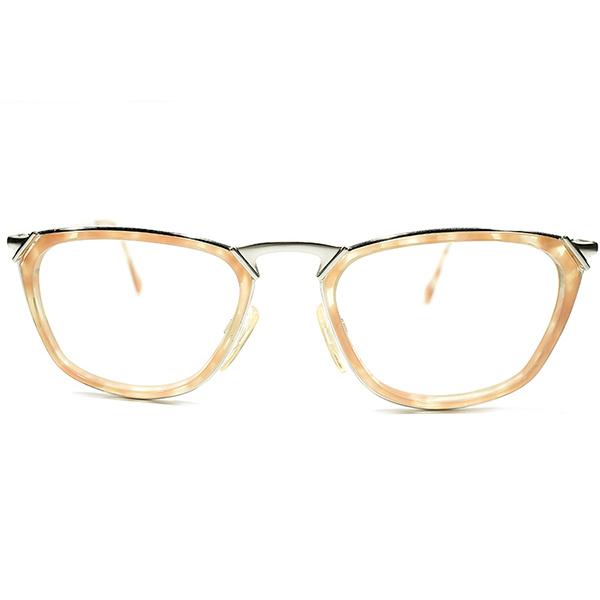 デッドストック 1980-1990s ドイツ製 MADE IN GERMANY CERRUTI 1881 by RODENSTOCK ローデンストック Wネーム インナーリム ウェリントン ペールオレンジ×シルバー ビンテージヴィンテージ 眼鏡メガネ A4521