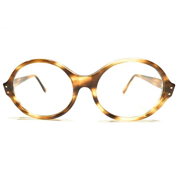 OLDオリバーゴールドスミスSTYLE デッドストック 1950s-1960s 英国製 MADE IN UK 厚地 LARGE オーバルシェイプ 鼈甲柄 ラウンド ヴィンテージ 眼鏡 丸メガネ A4525